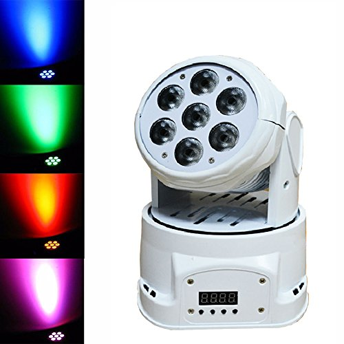 Sumger Ship By DHL 100W (7 Lights x 15W) RGBW Par Lighting 4in1 CREE LED Mini Moving Head DJ Disco Stage Party Effect Lighting With Sound Active And DMX512(White) by Sumger