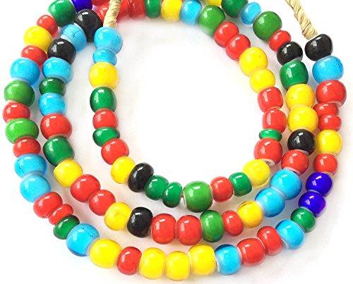 8mm Ghana African Assortment White Heart glass African trade beads