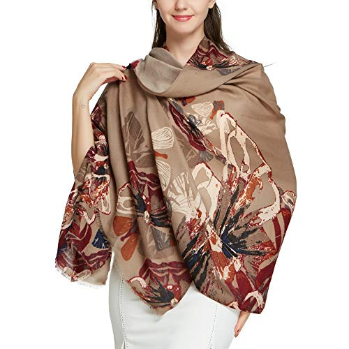 - Butterfly Shawl Scarfs for Women -Pantonight Long Brown Shawl Fancy Scarf Butterfly Fall Viscose Large Scarf (Brown 313)