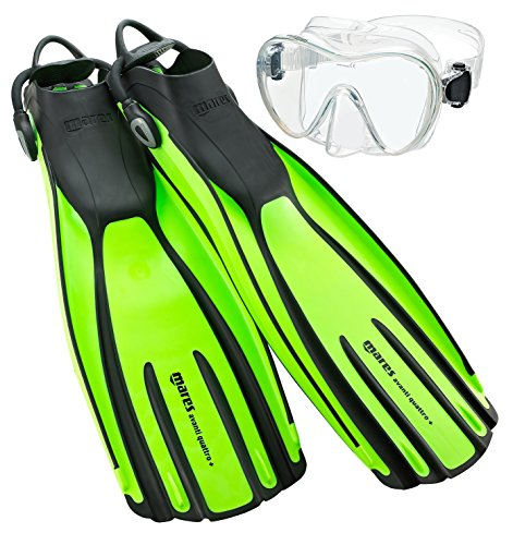 Mares Avanti Quattro Plus Adjustable Strap Fins with Mask, Lime - XL