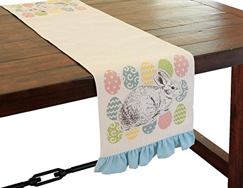 - Xia Home Fashions Bunny Eggs Printed Applique Jute Easter Table Runner, 13.5 by 72-Inch, Natural