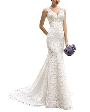 NANIYA V Neck Lace Wedding Dresses for Bride Mermaid Evening Formal Party Gowns