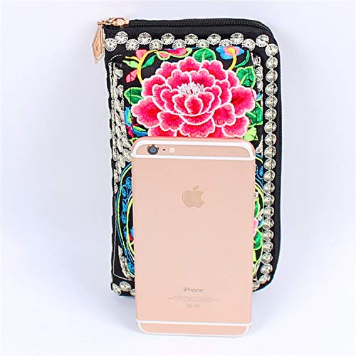 National wind embroidered mobile phone bag key bag ladies hand take purse -