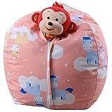 Stuff 'n Sit - Stuffed Animal Storage Bean Bag Chair for Kids - Pouf Ottoman for Toy Storage (A)
