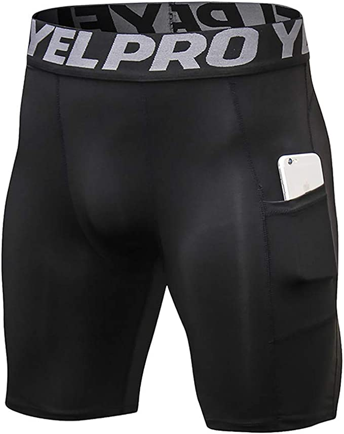 Jessie Kidden Mens Compression Shorts Baselayer Underwear Cool Dry Sports Tights Underpants with Pocket