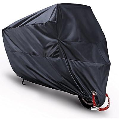 "Motorcycle Cover, Monojoy Motorcycle Cruiser Scooter Outdoor Waterproof Rain Cover, Oxford Motor Dirt Bike ATV Covers, Motorcycle Accessories For Harley Davidson?Kawasaki?Yamaha Honda Motorcycles,116"" from MONOJOY"
