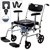 Nurth 4 in 1 Chair Shower Commode Mobile Chair Commode/Shower Wheelchair Padded Toilet Seat Shower Transport Chair with 4 Brakes, Removable Pedal, Adjustable armrest, PU Commode Seat and Pail 220lb