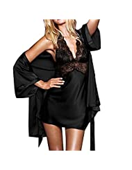 HSL Women's Sexy Lace Nightgown Sleepwear Bathrobe 2 Piece Set Black