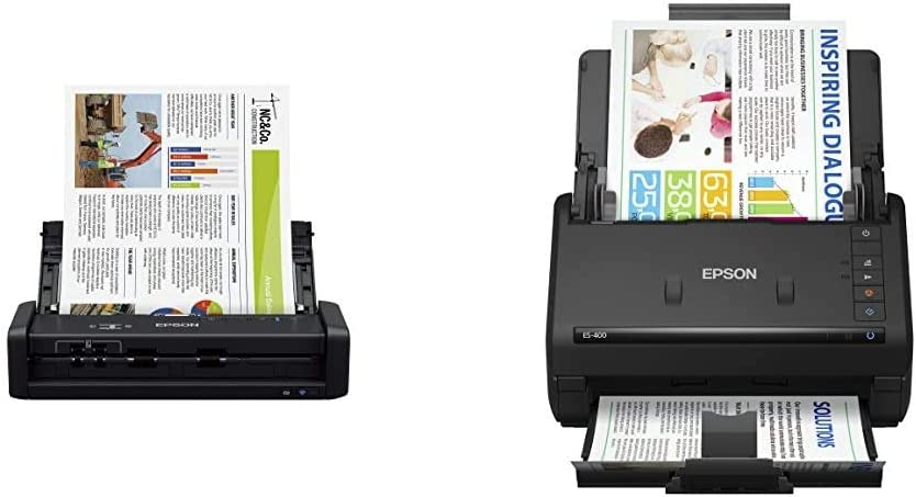 Epson Workforce ES-300W Wireless Color Portable Document Scanner & Workforce ES-400 Color Duplex Document Scanner for PC and Mac, Auto Document Feeder (ADF)