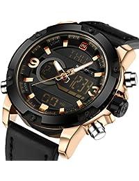 Genuine Leather Band Analog Digital LED Dual Time Display Mens Watch, Black&Gold