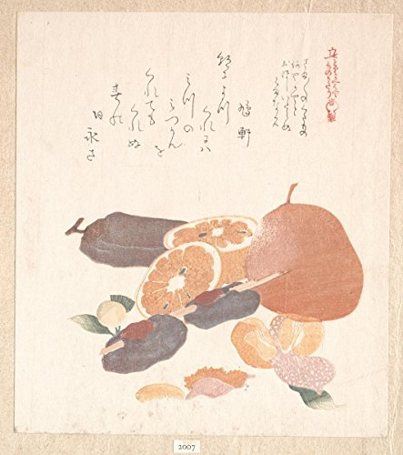 Historic Fine Art Print | Kubo Shunman | Oranges and Dried Persimmons | Japan | Edo Period (16151868) | Vintage Wall Art Dcor Poster Reproduction | 18in x 24in