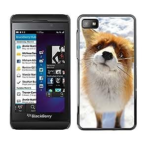 TECHCASE**Cubierta de la caja de protección la piel dura para el ** Blackberry Z10 ** Cute Arctic Snow Fox Orange Goofy Animal