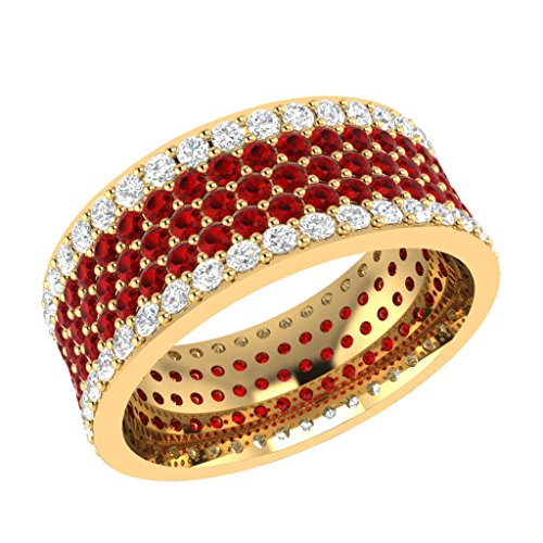 BB Jewels 5Carat Round Cut Simulated Diamond Engagement and Wedding Eternity Band Ring 14k Yellow Gold Finish (Ruby w/Simulated (Ruby Diamond Eternity Bands)