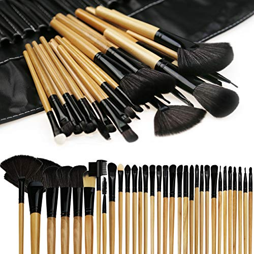 Makeup Brushes, FlatLED Makeup Brush Set, 32 PCS Profesional Wooden Synthetic Cosmetics Makeup Brush Kit with Leather Case, Foundation Eyeliner Blending Concealer Eyeshadow Face Powder Blush (Wooden)