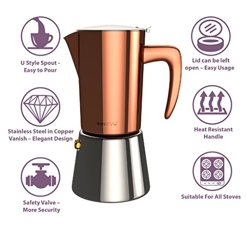 Bonvivo Intenca Espresso Maker Made Of Stainless Steel With Copper Chrome Finish, For Full Bodied Espresso, Classic Moka Pot