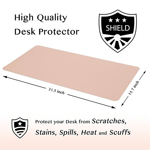 Knodel Desk Pad Protector, 31.5'' x 15.7'' PU Leather Blotter, Rectangular Laptop Desk Mat, Non-Slip Mouse Pad, Waterproof Gaming Writing Mat for Office and Home, Dual-Sided (Pink/Silver) by Knodel (Image #2)'