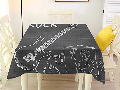 L'sWOW Tablecloth Large Square Tablecloth Guitar Love The Rock Music Themed Sketch Art Sound Box and Text on Chalkboard Charcoal Grey White Stripe 36 x 36 Inch