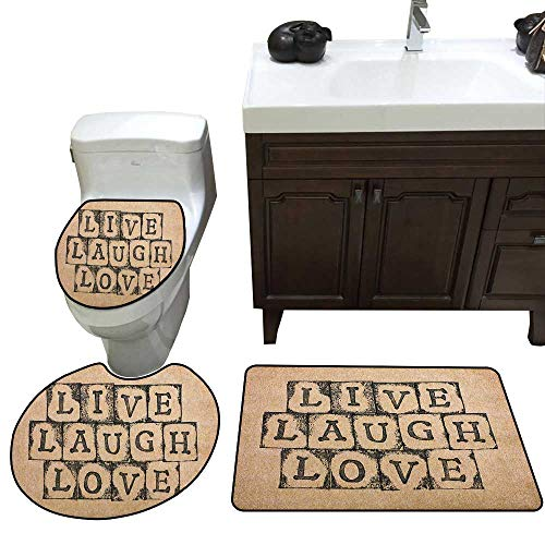 Moeeze-Home Live Laugh Love Bathroom 3-Piece Mat Sets Black Alphabet Stamps on Aged Grungy Looking Backdrop Vintage Print Pedestal Mat+Lid Toilet Cover+Bath Mat Doormat Non-Slip Black Pale -