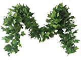 Meiliy 40 Ft 5 Strands Artificial High Simulation Printing Boston Ivy Greenery Chain Foliage Simulation Flowers Plants for Home Room Garden Wedding Garland Outside Decoration
