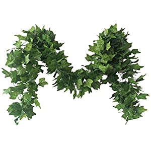 Meiliy 40 Ft 5 Strands Artificial High Simulation Printing Boston Ivy Greenery Chain Foliage Simulation Flowers Plants for Home Room Garden Wedding Garland Outside Decoration 113