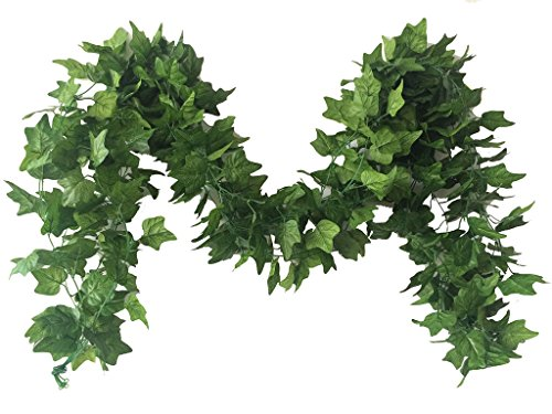Meiliy 40 Ft 5 Strands Artificial High Simulation Printing Boston Ivy Greenery Chain Foliage Simulation Flowers Plants For Home Room Garden Wedding Garland Outside (Foliage Garland)