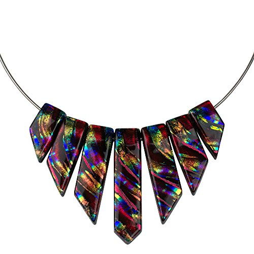 (Jasmine Necklace - Rainbow Red Dichroic Glass Necklace for Women with Bright Rainbow Accents)