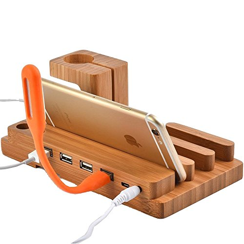 Hub Wood (Watch Stand,BAVIER Bamboo Wood 3-Port 3.0 Hub USB Charging Station, Phone Charger Dock and Charging Station for iPhone iPad and Smartphones and Tablets (Bamboo Wood A1))