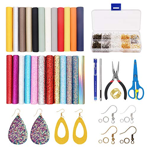 Sheets Hook - 24 Pieces Leather Earrings Making Kit Includes Litchi and Glitter Faux Leather Sheets, Jumps Rings, Earring Hooks, Templates, Display Cards for Making Leather Earrings Bows and Crafts