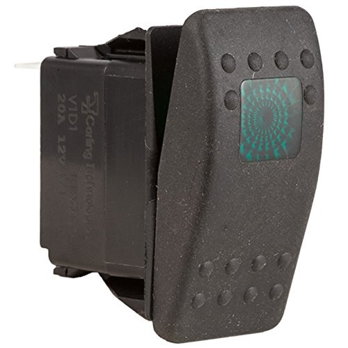 Contura II Soft Black 12 Volt 20 Amp Off / On Rocker Switch Illuminated Green When Switch Is On