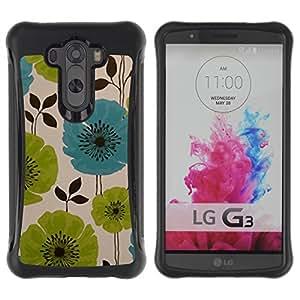 Híbridos estuche rígido plástico de protección con soporte para el LG G3 2014 Smart Phone - drawing painting green blue art