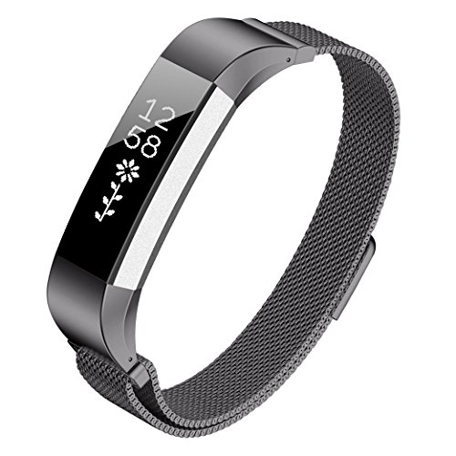 Kutop Band for Fitbit Alta HR, Fitbit Alta, Stainless Steel Adjustable Sports Fitness Metal Watchband Replacement Strap for Fitbit Alta/Fitbit Alta HR, Gray ()