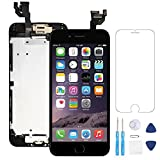 "Screen Replacement for iphone 6 Black 4.7"" LCD Display Touch Digitizer Frame Assembly Full Repair Kit, with Home Button, Proximity Sensor, Ear Speaker, Front Camera, Screen Protector, Repair Tools"