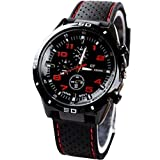 KitMax (TM) Unisex Military Army Pilot Style Silicone Band Sport Quartz Wrist Watches (Red)