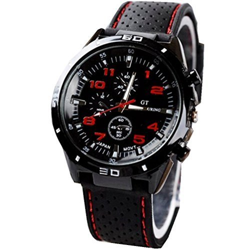 KitMax (TM) Unisex Military Army Pilot Style Silicone Band Sport Quartz Wrist Watches - Women Styles For