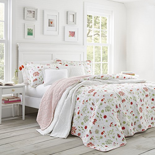 Cheap Laura Ashley Libby Quilt Set, Twin, Medium Red for cheap