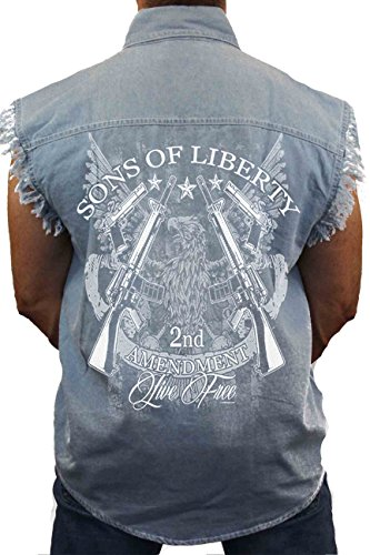 Men's Sleeveless Denim Shirt Sons of Liberty 2nd Amendment Biker: Light Denim (Medium)