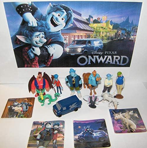 Onward Movie Deluxe Figure Set of 14 Toy Kit with 10 Figures, 4 Fun Stickers Featuring Ian, Barley, Green Dragon, Manticore Corey, The Van Guinevere and Many More!