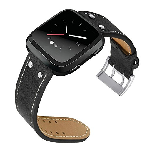 (Outsta for Fitbit Versa Watch Band, New Luxury Leather Band Bracelet WatchBands Accessories Smart Watch Band Women Men Multicolor (Black))