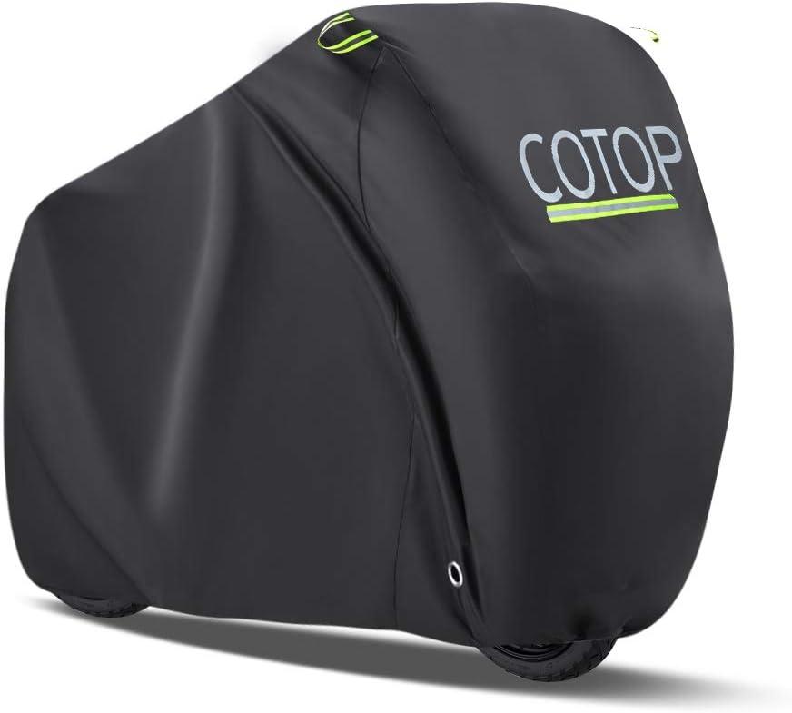 COTOP Funda para Bicicleta, 210T Cubierta Impermeable para Moto Protección UV Anti Lluvia de Polvo con Orificios de Bloqueo para Bicicleta de montaña/Bicicleta de Carretera/Bicicleta de Trail