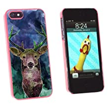 Graphics and More Deer Watercolor Purple - Hunting - Snap-On Hard Protective Case for Apple iPhone 5/5s - Non-Retail Packaging - Pink