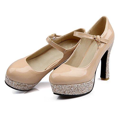 Women Heel High Court Platform TAOFFEN Pump Jane Shoes Beige Mary daExxw