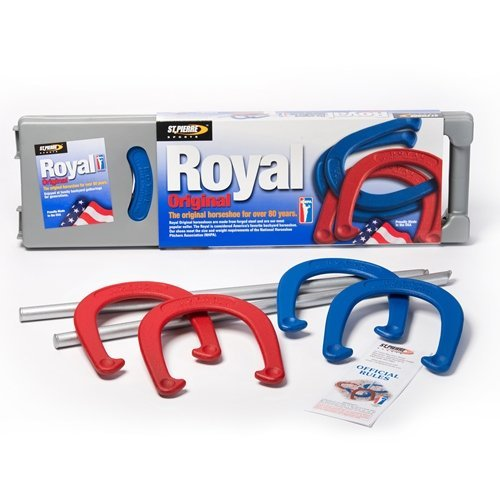 St. Pierre Royal Classic Horseshoes Set with 4 Horseshoes, 2 Steel Stakes, and Rule Book ()