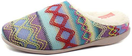 Dunlop Ambrosine Turquoise Multi Womens Mule Slippers, Size 6