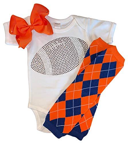 FanGarb Infant/Baby Girl's Rhinestone Football Outfit w/Blue and Orange Argyle Leg Warmers - Onesie Florida
