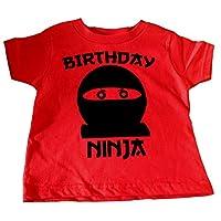 Custom Kingdom Boys Birthday Ninja T-Shirt (3T, Red)