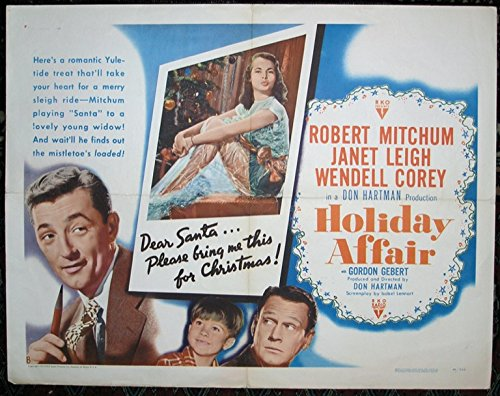 Holiday Affair (1949) Original Half Sheet Movie Poster Good Condition Only ROBERT MITCHUM JANET LEIGH WENDELL COREY Film Directed by DON HARTMAN CHRISTMAS MOVIE!