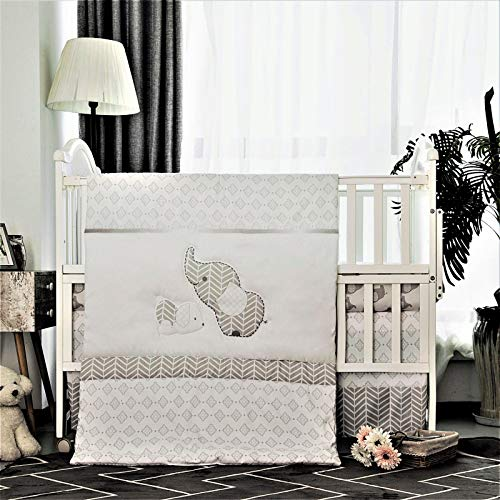 La Premura Baby Elephants Nursery Crib Bedding Sets - Gray Elephants & Puppy 3 Piece Standard Size Grey Crib Set - Unisex Nursey Bedding and Neutral Decor