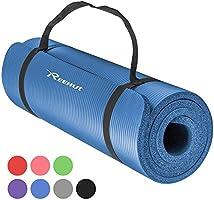 REEHUT Colchoneta de Yoga de NBR de Alta Densidad y Extra Gruesa de 12mm Diseñada para Pilates, Fitness y Entrenamiento/Correa Portátil(Rojo)