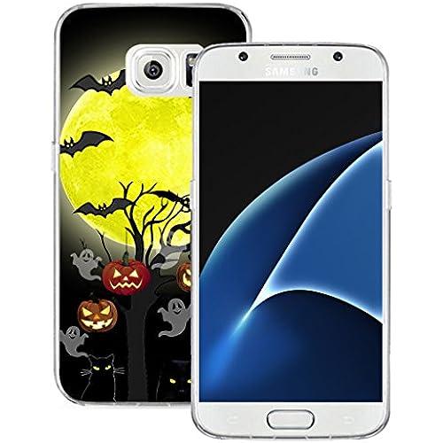 S7 Case MURQ Apple Samsung Galaxy S7 Case Cover Silicone Rubber Protective Halloween Pumpkin Cat Bat Design Sales