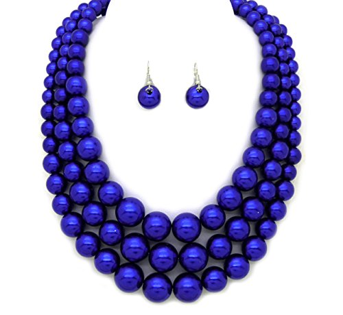 Women's Simulated Faux Three Multi-Strand Pearl Statement Necklace and Earrings Set (Mid-Night Blue)